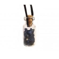 skleněná lahvička se sodalitem