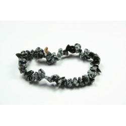 Sekaný náramek na gumičce - Obsidián vločkový
