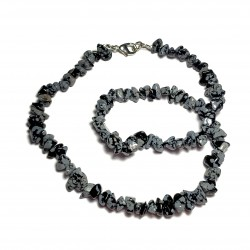 Sekaný náhrdelník 45cm - Obsidián vločkový