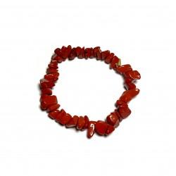 Sekaný náramek na gumičce - Jaspis červený